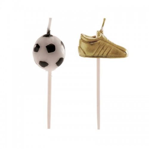 Dekora Kuchen Kerzen Ball und Schuhe - Fußball -6 Stk