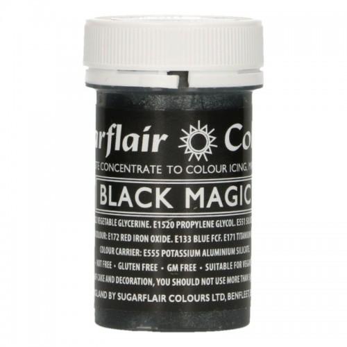 Sugarflair pastelová gelová barva - satin black magic - 25g
