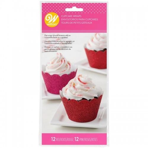 Wilton Cupcake Wrappers - červený a růžový třpyt - 24ks