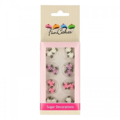 FunCakes Cukrová dekorace Roses with leafs - růžičky s lístky 16ks