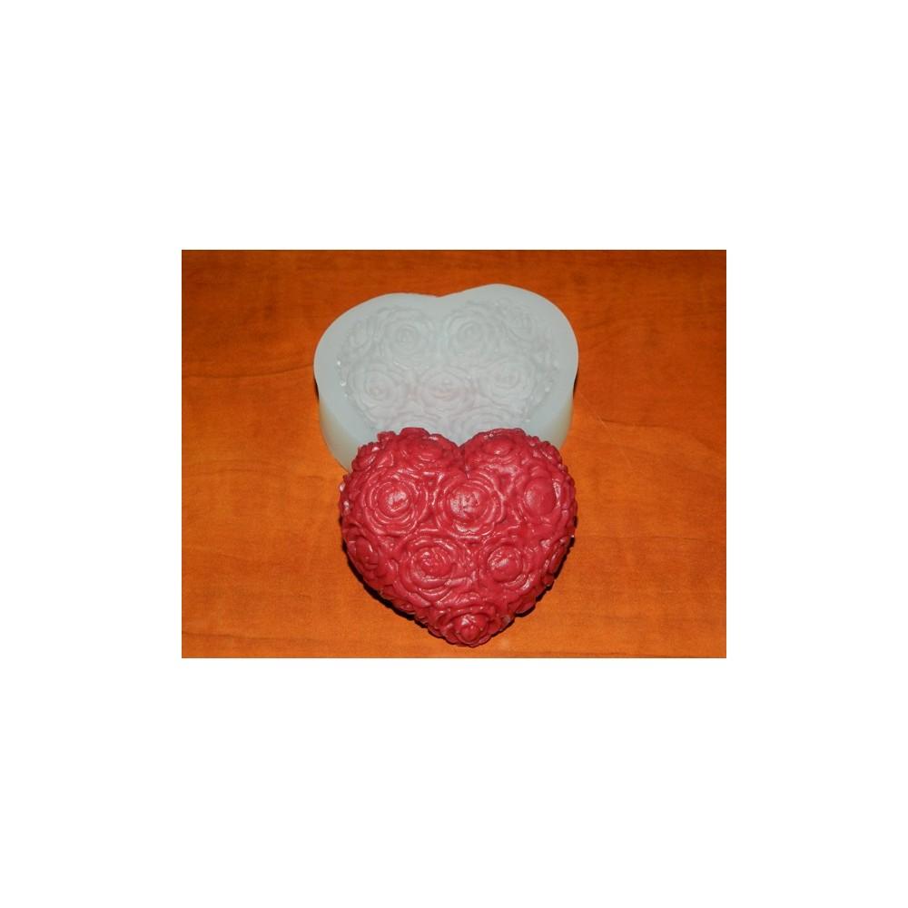 Silikonform - Herz mit Rosen