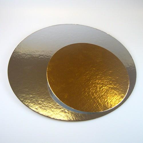 Kulatá podložka pod dort zlatá / stříbrná 26cm