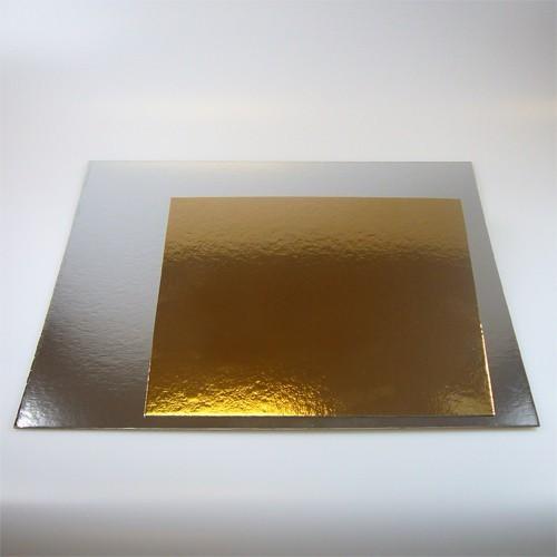 Čtvercová podložka pod dort zlatá / stříbrná 20cm