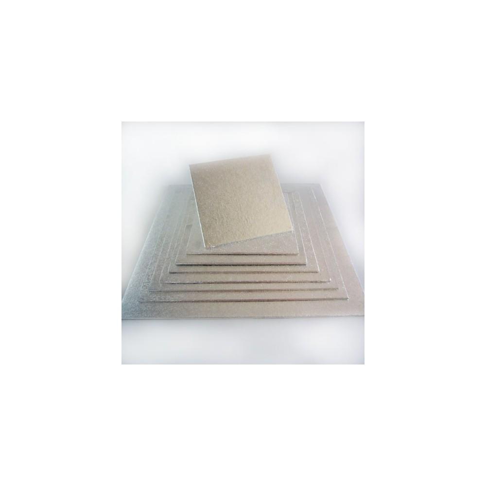 FunCakes čtvercová podložka pod dort stříbrná 20x20cm/4mm