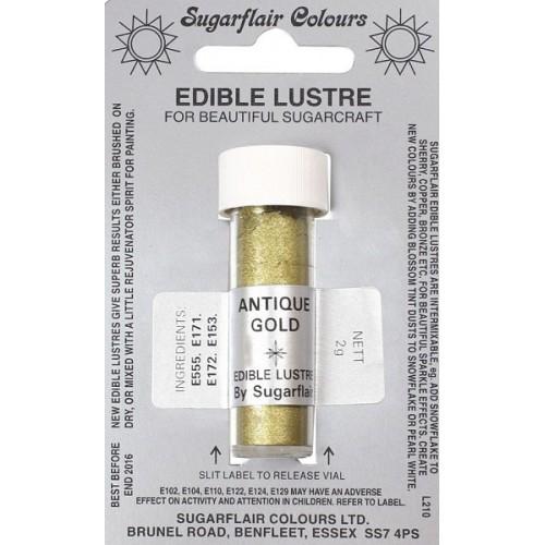 Sugarflair prachová perleťová barva - zlatá - Antique Gold 2g