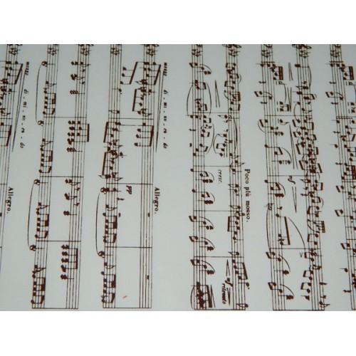 """PCB Transfer folie na čokoládu noty tmavé """"Notes de Musique""""  40x25cm"""