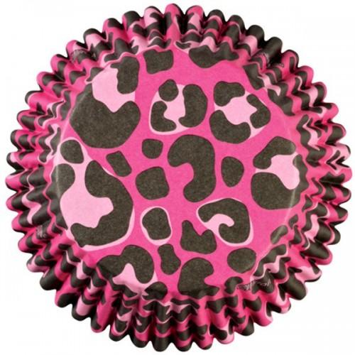 Wilton cukrárske košíčky - ružový leopard  - 36ks