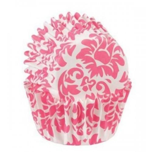 Wilton mini cukrárske košíčky -ružový damašek  100ks