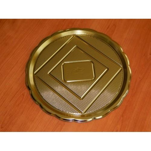 Alcas - umelohmotná tácka pod tortu - zlatý guľatý 28cm
