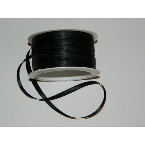 Satin ribbon - black 20m / 5 mm