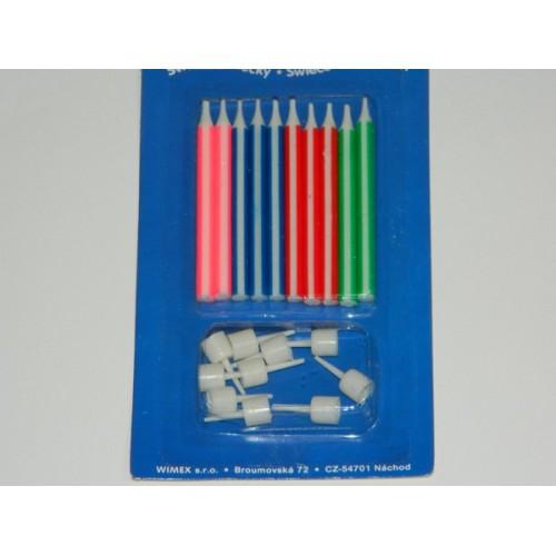 Narodeninové sviečky s pruhom - 10ks
