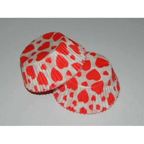 Cukrárske košíčky - červené srdiečko  - 40ks