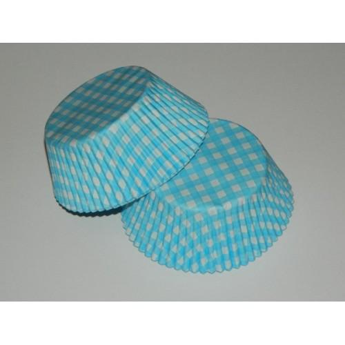 Cukrárske košíčky - karo modré  - 40ks