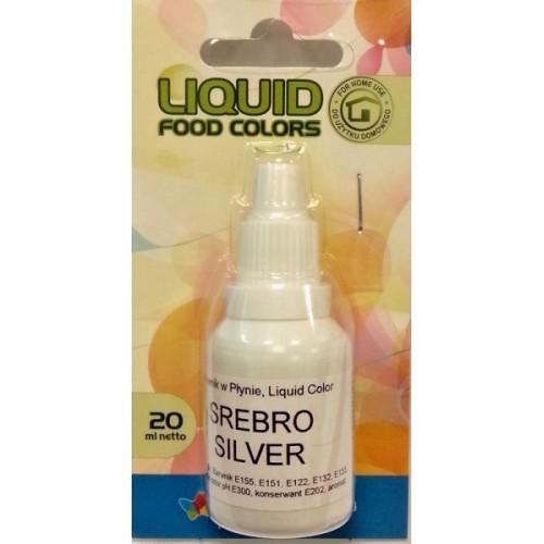 Airbrush perleťová farba tekutá Food Colours Silver (20 ml) Strieborná