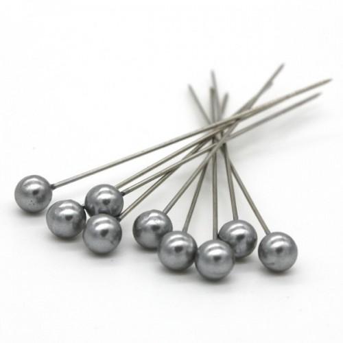 Dekoračné špendlíky - strieborná perla - 65mm/9ks