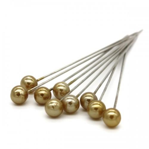 Dekoračné špendlíky - zlatá perla - 65mm/9ks
