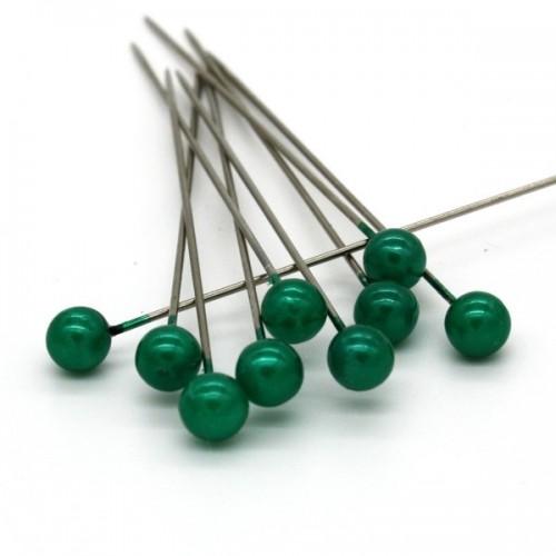 Dekoračné špendlíky - tmavá zelená perla - 65mm/9ks