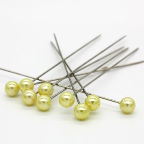 Dekoračné špendlíky - žltá perla - 65mm/9ks