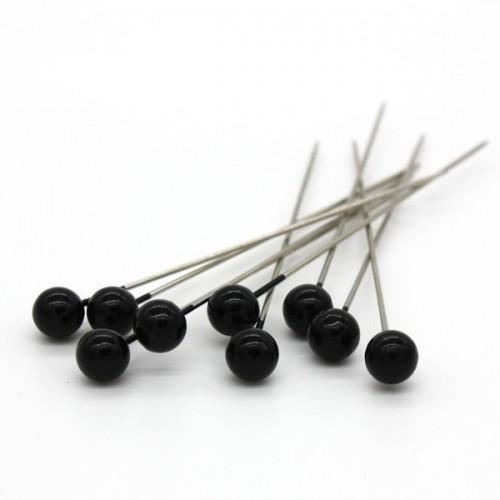Dekoračné špendlíky - čierna perla - 65mm/9ks