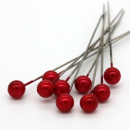 Dekoračné špendlíky - červená perla - 65mm/9ks