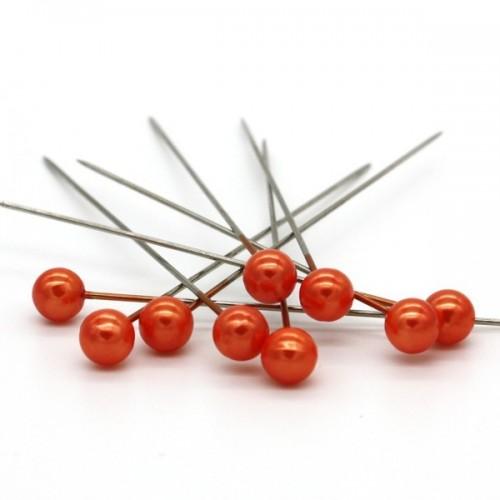 Dekoračné špendlíky - oranžová perla - 65mm/9ks