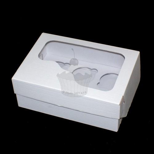 Krabička na muffin / cupcakes - pevná - biela - 6