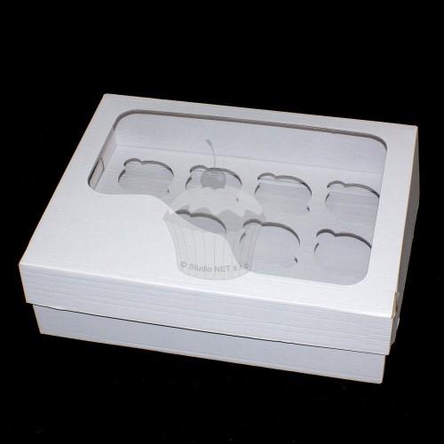 Krabička na muffin / cupcakes - pevná - biela - 12