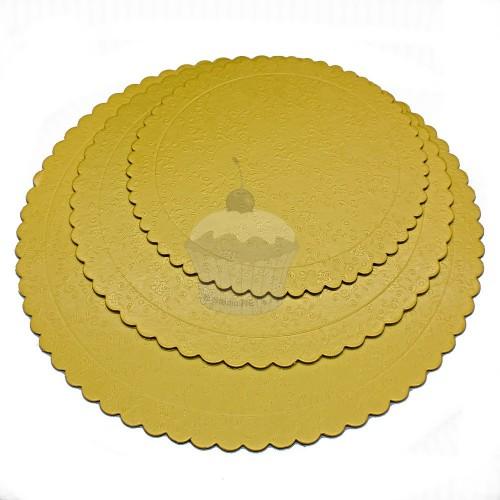Sada 3ks podložky pod dort zlaté - kulaté