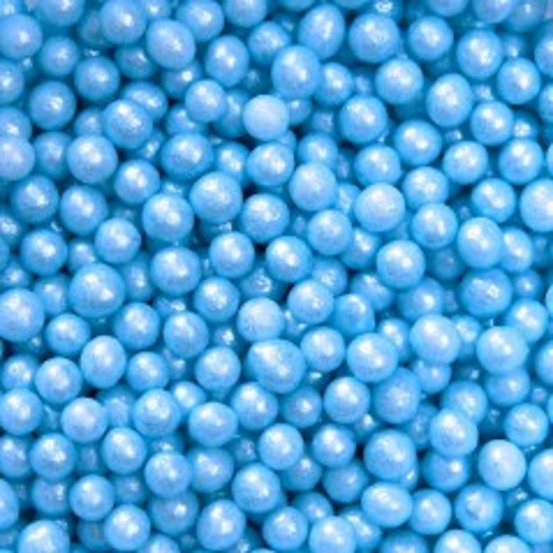 Cukrovej perličky 4mm - modrá perleť - 50g