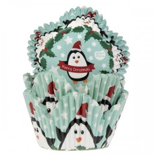 HoM cukrárske košíčky tulipán - vianočné tučniak - 50ks