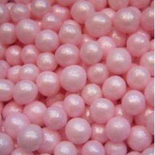 Cukrovej perličky 4mm - růžová perleť - 50g