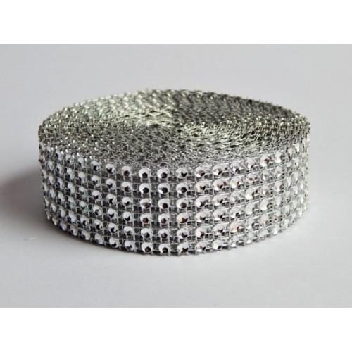 """""""Diamantový"""" pás - strieborný 3cm x 4,57m"""