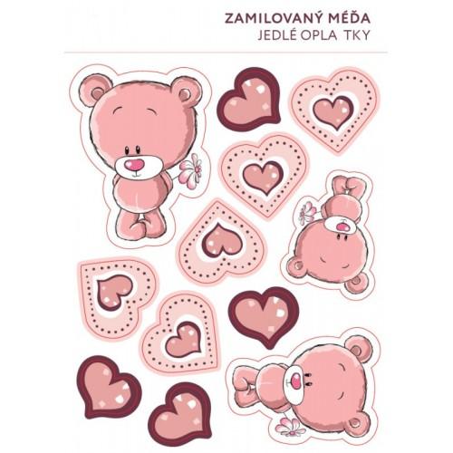 Jedlý papier karta karta - Zamilovaný medvedík - 11ks