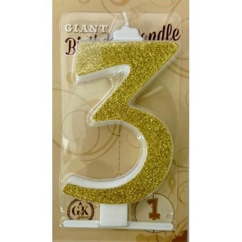 Torten Kerze groß - Glanz gold - 3