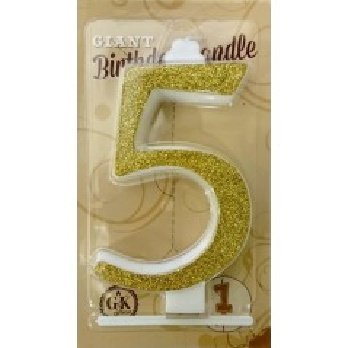 Torten Kerze groß - Glanz gold - 5