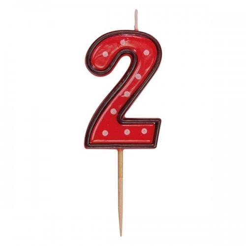 Zahlenkerze rote auf einem Stick - 2