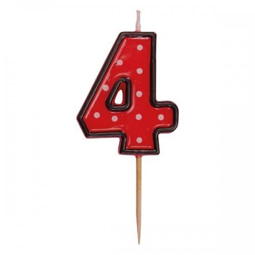 Party tortová sviečka červená na špajli - 4