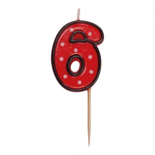 Party tortová sviečka červená na špajli - 6