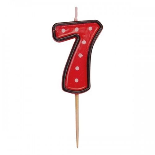 Party tortová sviečka červená na špajli - 7