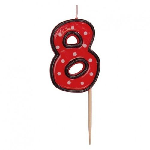 Party tortová sviečka červená na špajli - 8