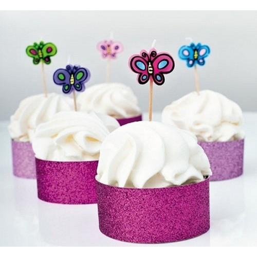 Torten Kerze Schmetterlinge - 5 Stück