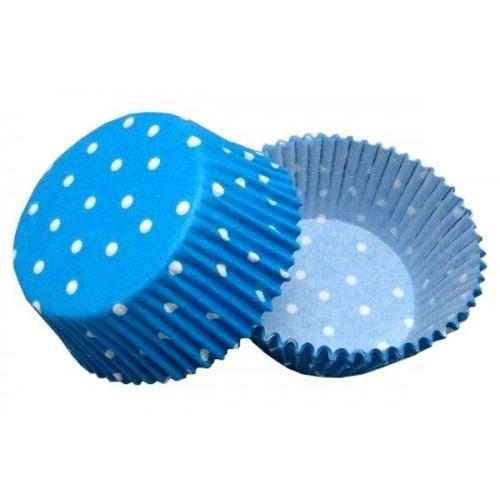 Cukrárske košíčky - modrý - bodky - 50ks