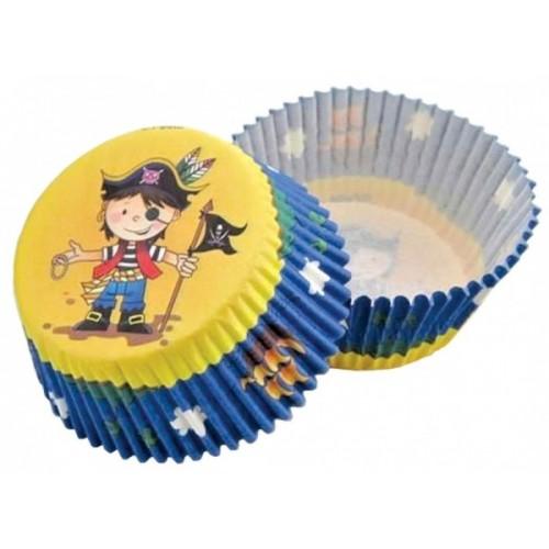 Cukrářské košíčky - žluto-modrý  pirát  - 50ks