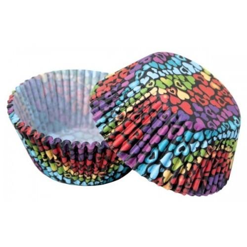 Cukrářské košíčky - barevná srdíčka - 50ks