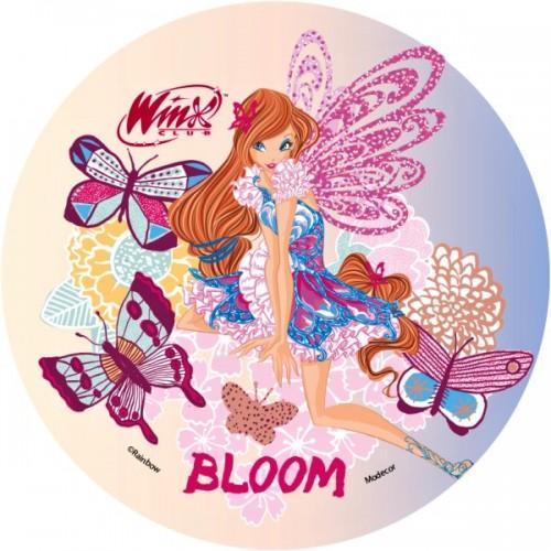 Jedlý papier karta guľatý -  Winx - Bloom