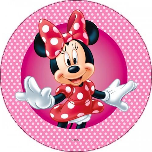 Jedlý papier karta guľatý - Minnie Mouse