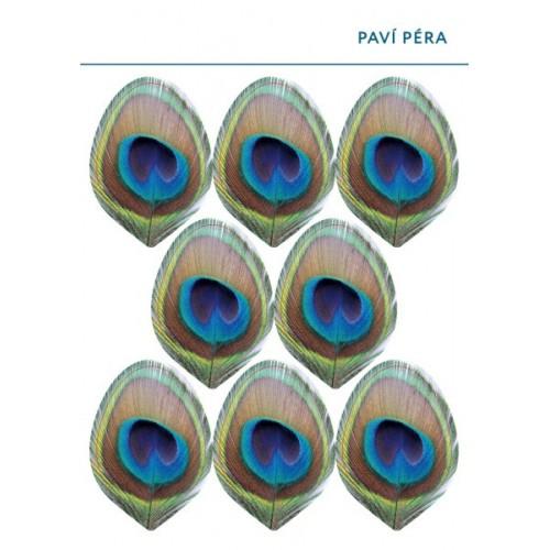 Jedlý papír karta - Paví péra - 8ks