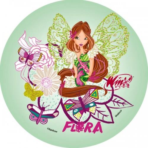 Jedlý papier karta guľatý -  Winx - Flora