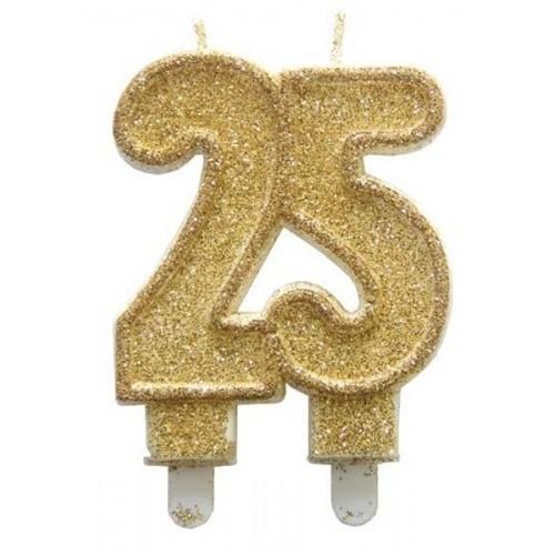Narozeninová dortová svíčka jubilejní zlatá - 25