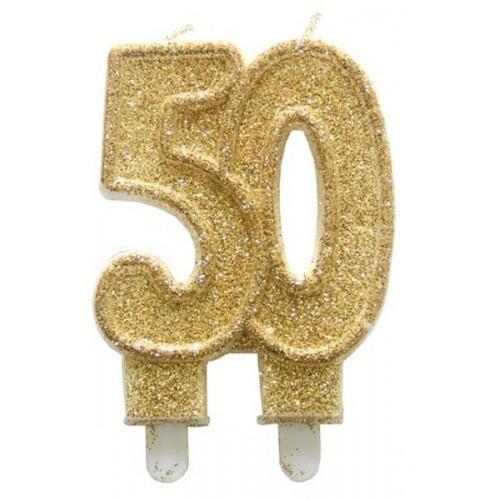 Narozeninová dortová svíčka jubilejní zlatá - 50